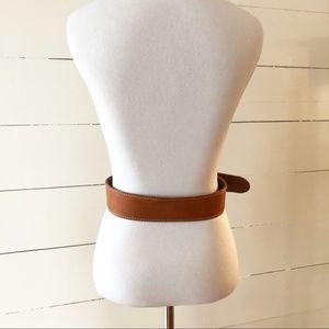 Accessories - Vintage Tan Leather Art Deco Buckle Boho Belt